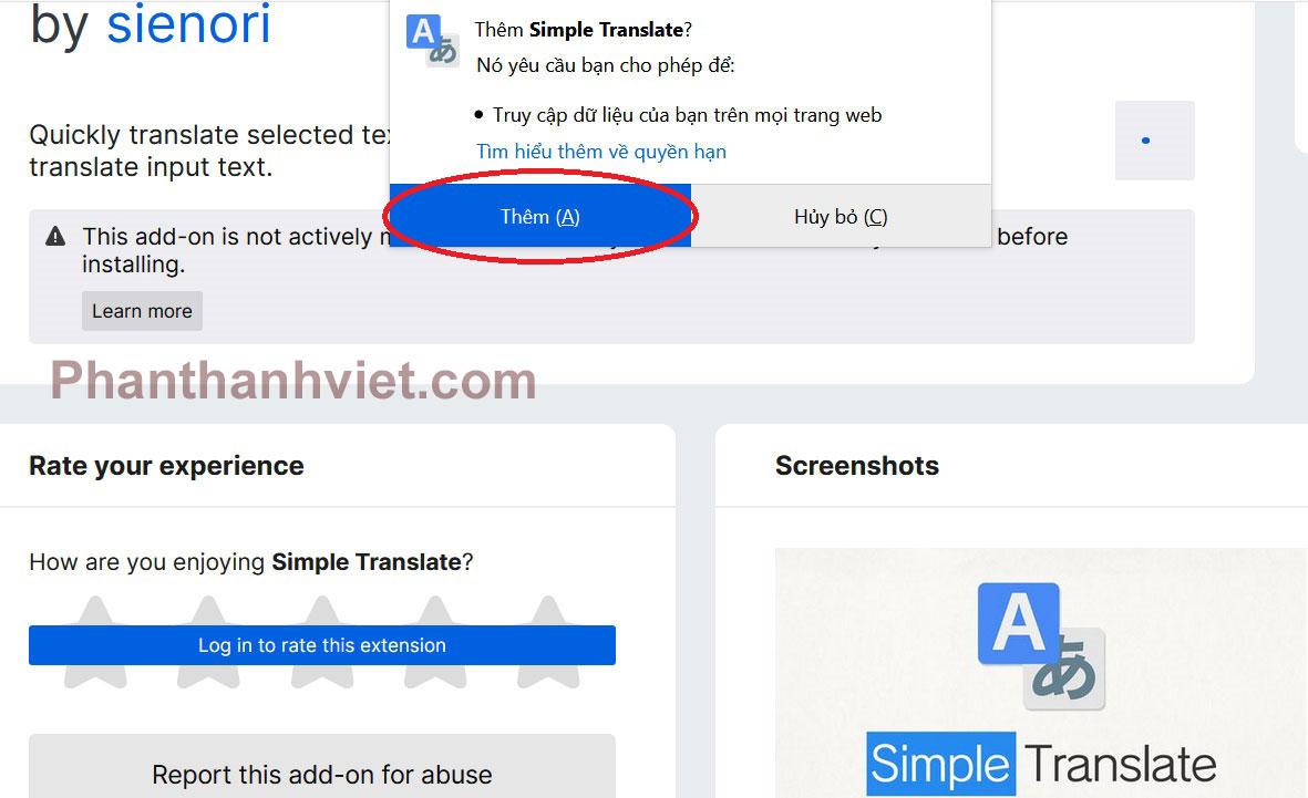 Cách dịch ngôn ngữ trên Firefox bằng tiện ích Simple Translate