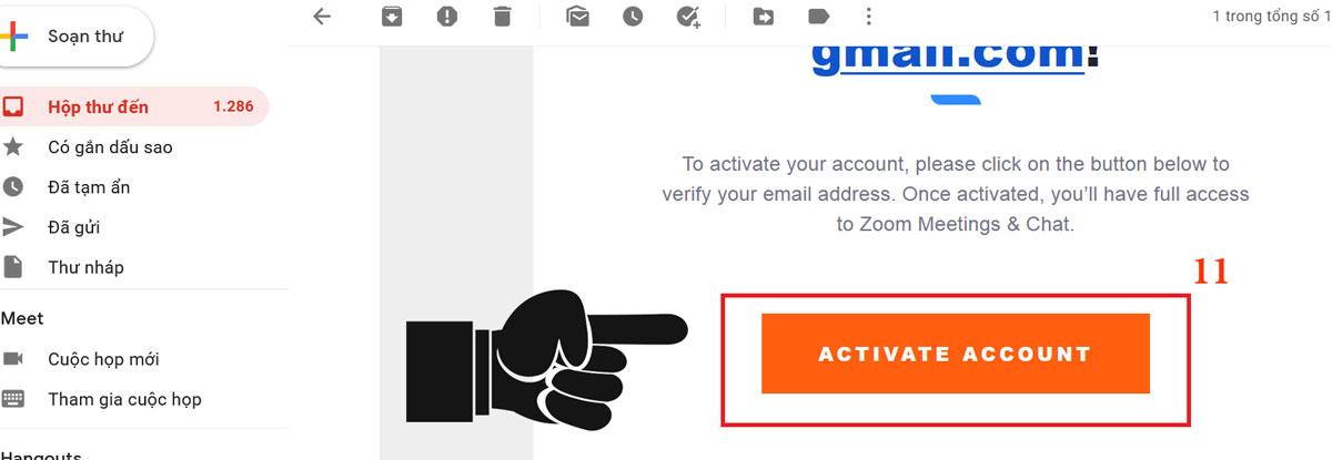 Click vào activate account để kích hoạt tài khoản Zoom