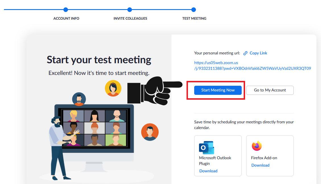 Click Start Meeting Now để vào phòng họp