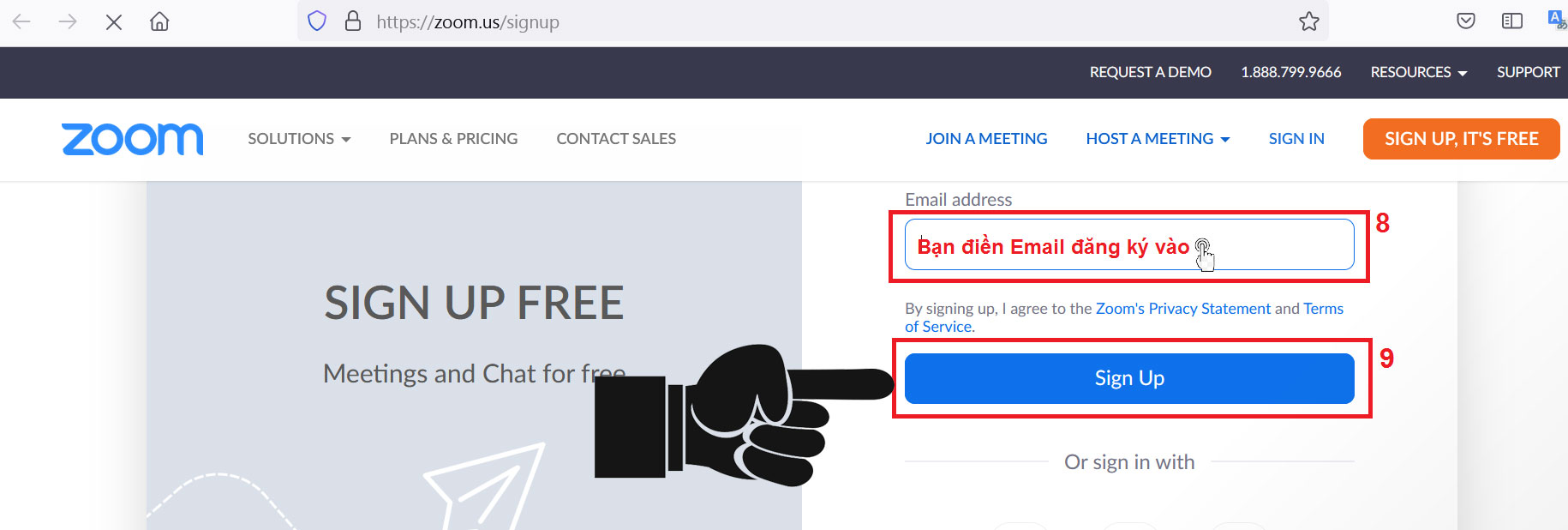 Tiếp theo bạnnhập Email của bạnvào khung Email Address